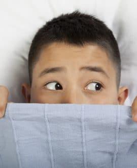 Scared boy with phobia