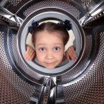 child in washing tub